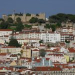 A view of hilly Lisbon, topped by São Jorge Castle, from a lookout in the Bairro Alto district.