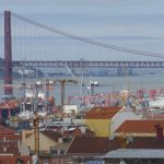 The Port of Lisbon, looking west towards Ponte (Bridge) de 15 Abril and the North Atlantic Ocean. I found it quite amazing to learn that in 1588 the Spanish Armada, a fleet of 130 ships, set sail from HERE, heading towards the English Channel.