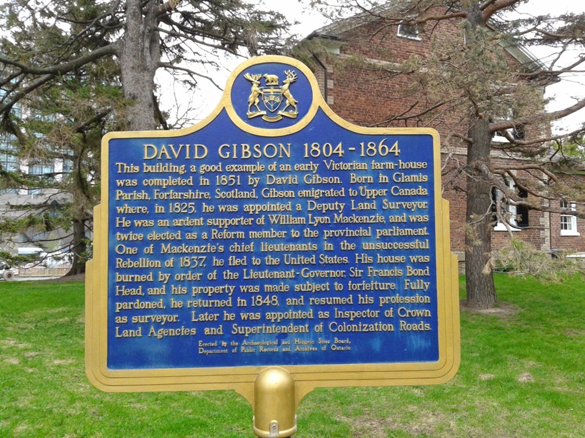 Ontario Historic Plaque Outside the Gibson House Museum, North York, Ontario, Canada