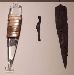 Celtic dagger and sheath. The sheath consists of bronze bands wrapped around ashwood.
