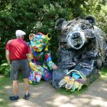 """Half Bear"" - trash art by Bordalo II, in the gardens of Lisbon's Fundação Calouste Gulbenkian, created for Earth Day 2018. I like how the baby bear and the man appear to be interacting. (For more, see www.bordaloii.com.)"