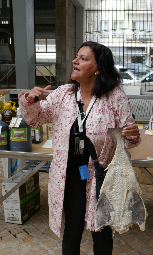 In Alcobaça's market, wonderful guide Cristina Duarte (www.lisbonbeyond.pt) speaks on bacalhau, dried and salted cod, a staple of Portuguese cuisine.
