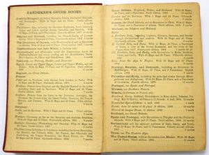 Front inside cover: Baedeker's guidebooks offerings (including The Dominion of Canada with Newfoundland)