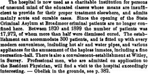 """Bethlehem (Bedlam) Hospital, """"the oldest charitable institution for the insane in the world."""" """"Professional men … will find a visit to the hospital exceedingly interesting."""" (p. 381)"""
