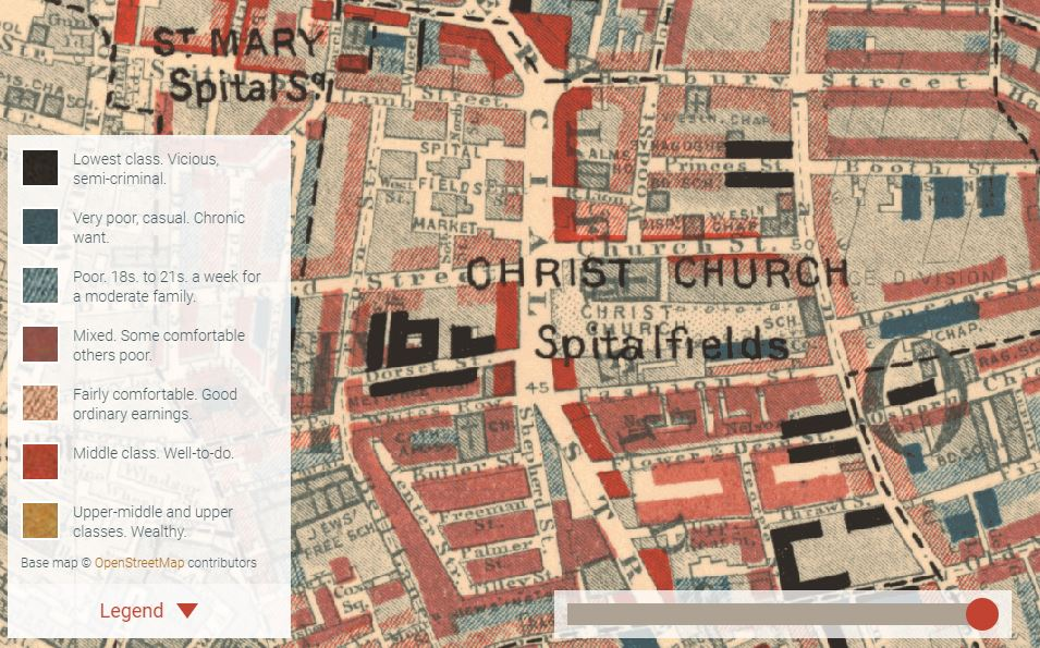 Spitalfields, in Charles Booth's Poverty Map, on Charles Booth's London, 1898-99