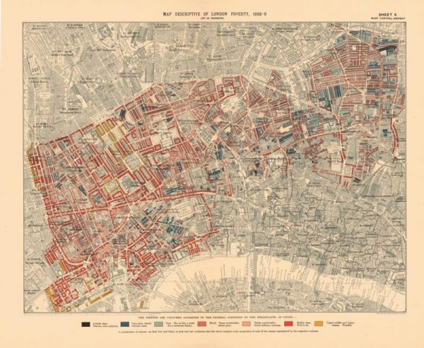 Booth Map Descriptive of London Poverty, 1898-99 (Sheet 6, West Central District), from Charles Booth's London