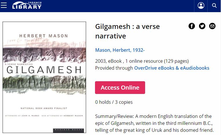 Gilgamesh is great as an e-book - from Toronto Public Library