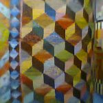 Tumbling blocks, a motif from his early work.