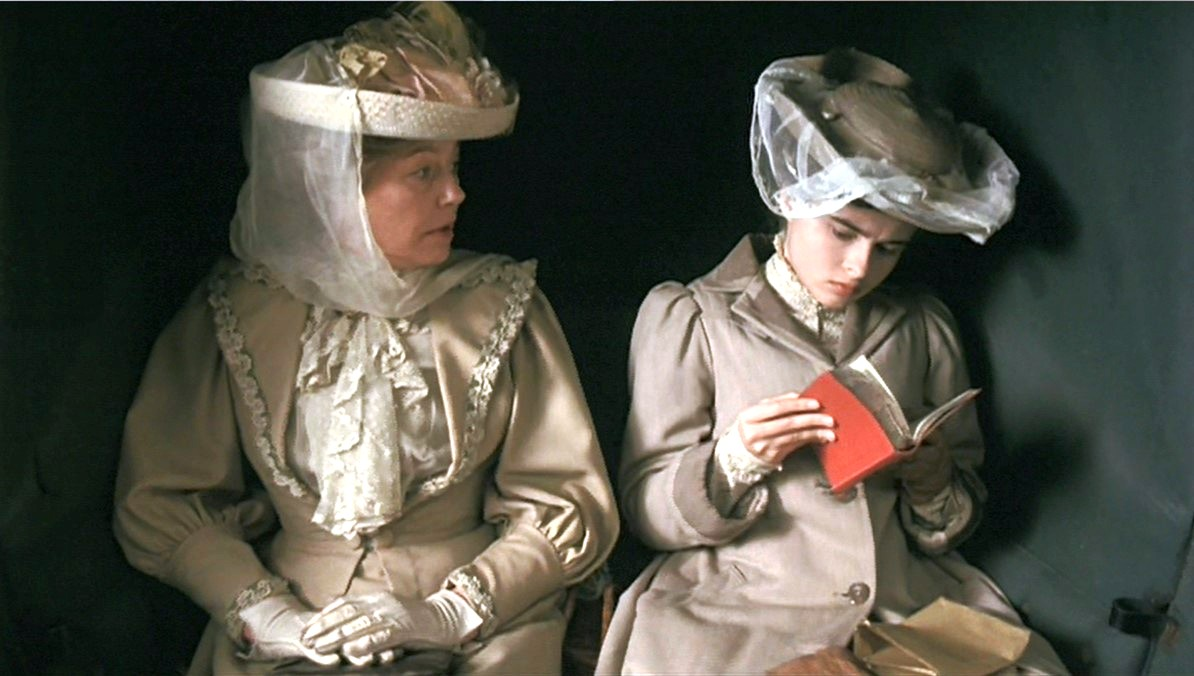 """Lucy Honeychurch, in the 1985 film """"A Room With a View,"""" peruses her Baedeker"""