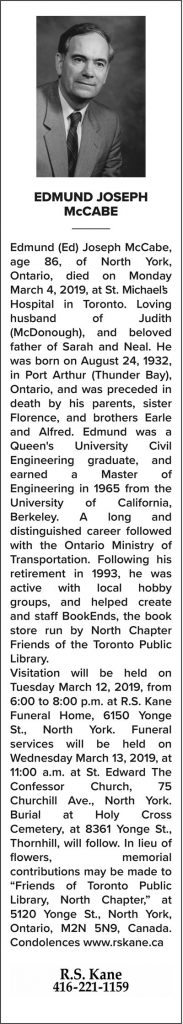Edmund J. McCabe's obituary