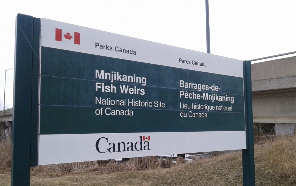 Mnjikaning Fish Weirs Parks Canada Sign