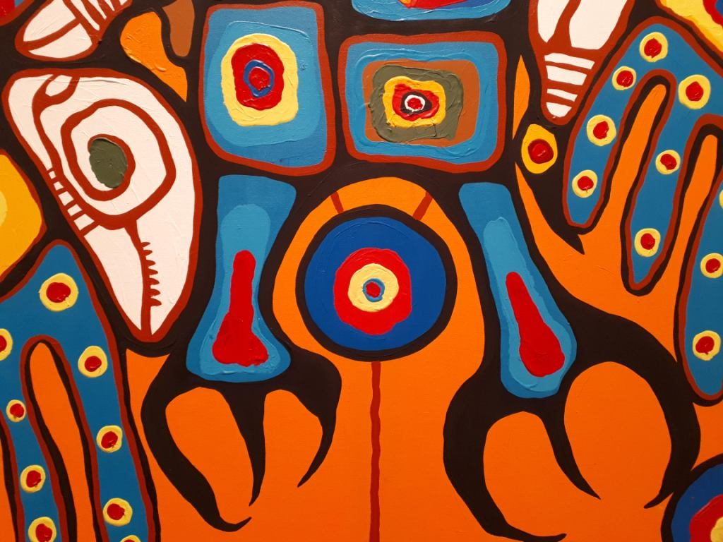 Talons of the Thunderbird in Norval Morrisseau's Man Changing into Thunderbird (1977)