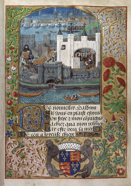 From the British Library on Flickr: Poems of Charles, Duke of Orleans - caption: 'The Tower of London' (c. 1500)